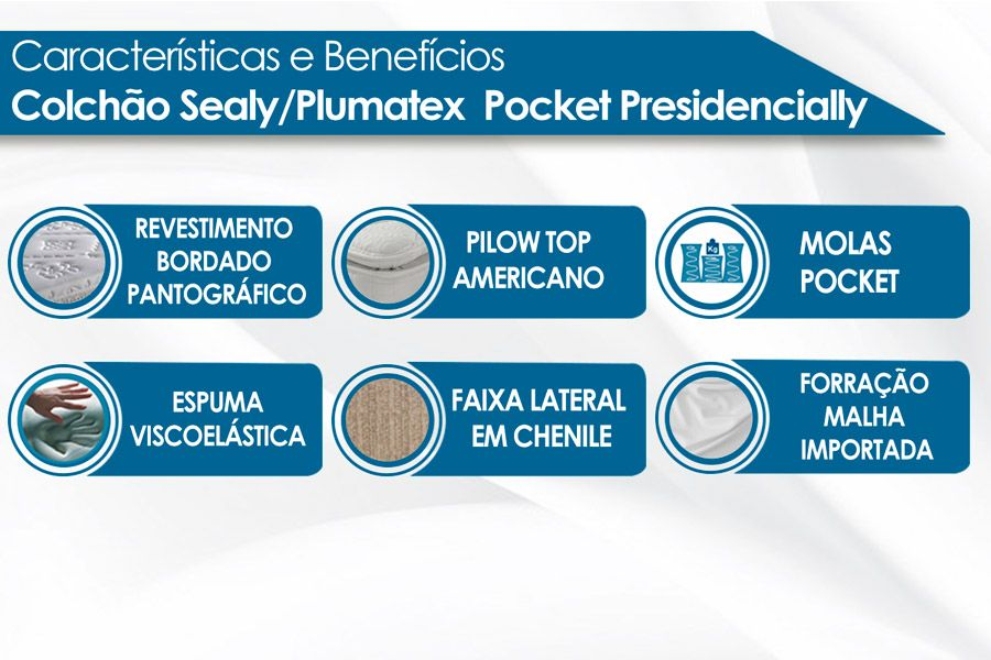 Colchão Sealy/Plumatex  Molas Pocket Presidencially